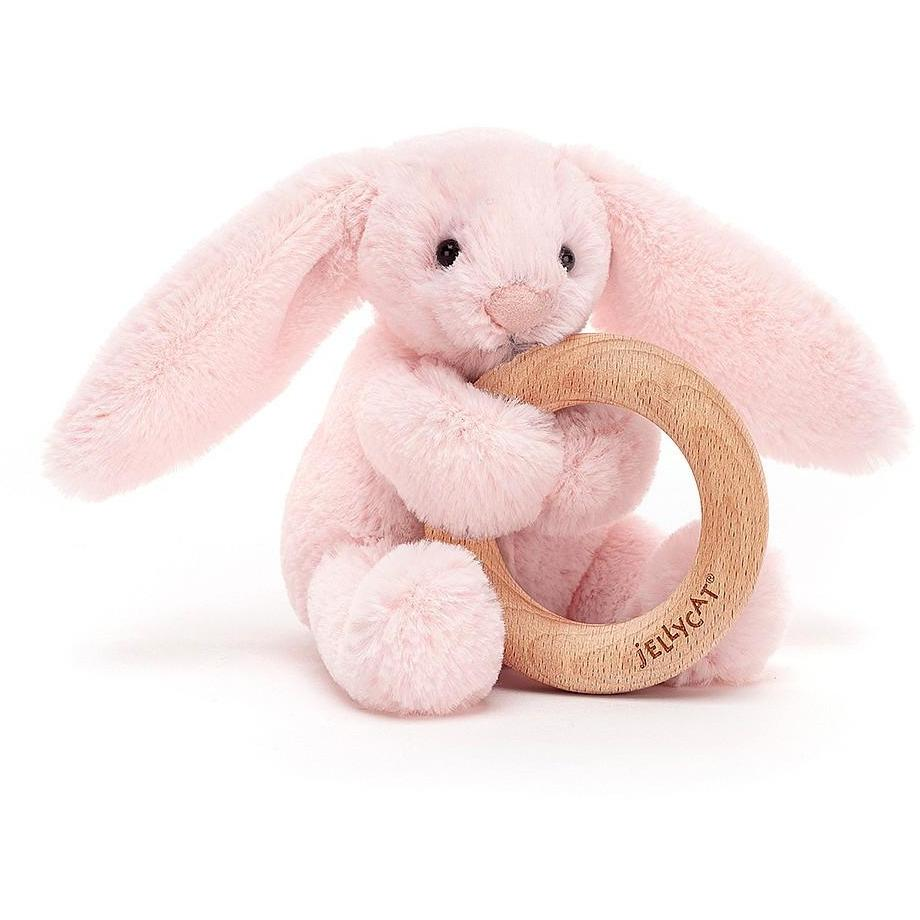 Bashful Blush Bunny Wooden Ring Toy