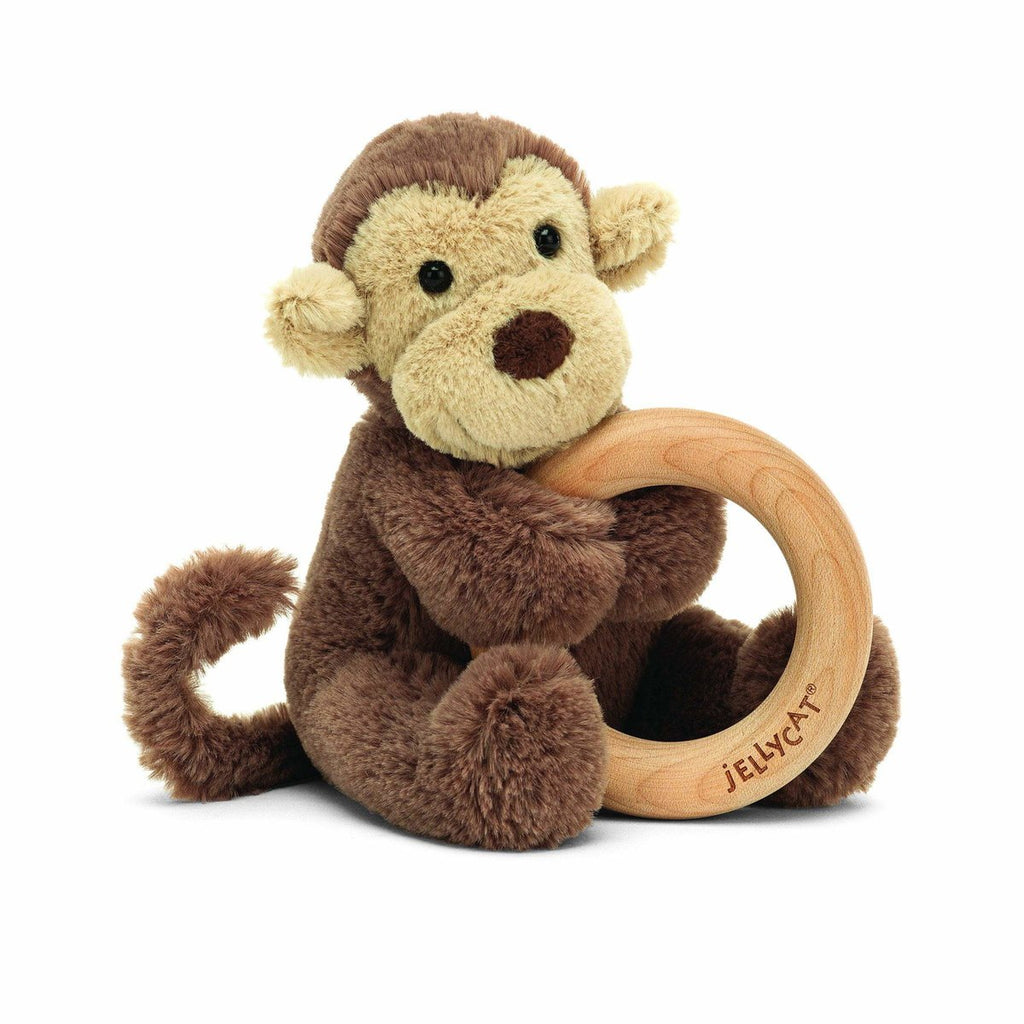 Bashful Monkey Wooden Ring Toy
