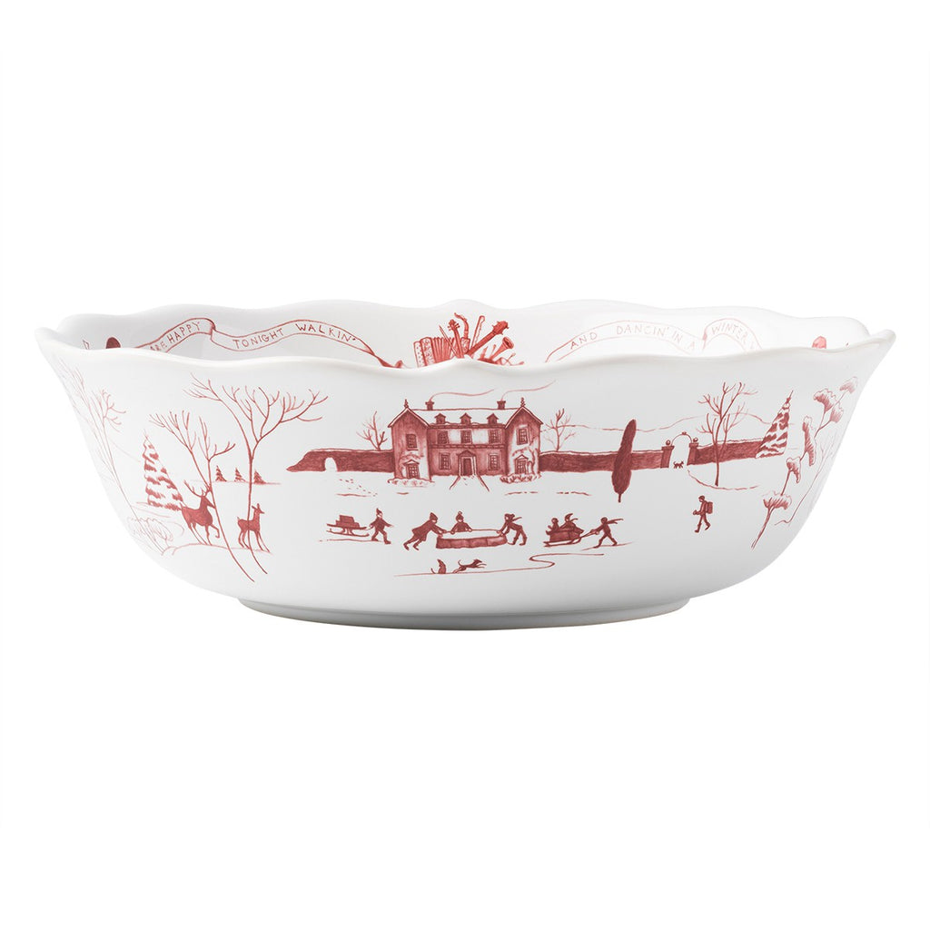 "Country Estate Winter Frolic Ruby 10"" Serving Bowl"
