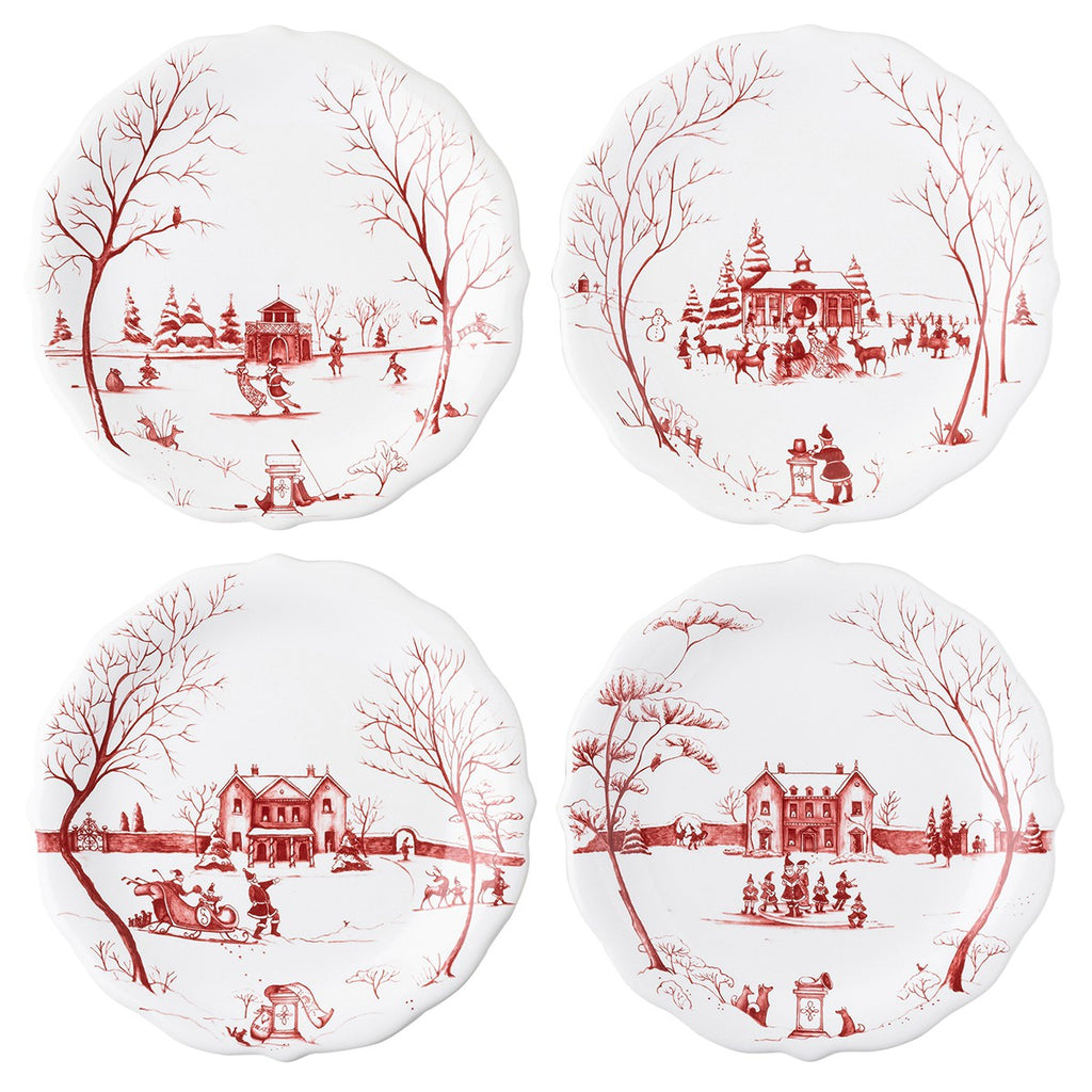 "Country Estate Winter Frolic ""Mr. & Mrs. Claus"" Ruby Party Plates, Set/4"