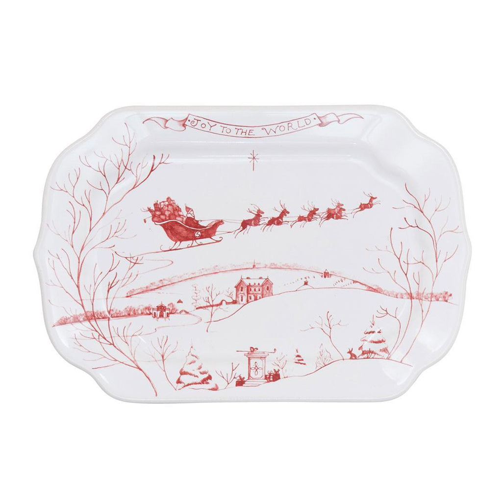 "Country Estate Winter Frolic Ruby Gift Tray ""Joy to the World"""