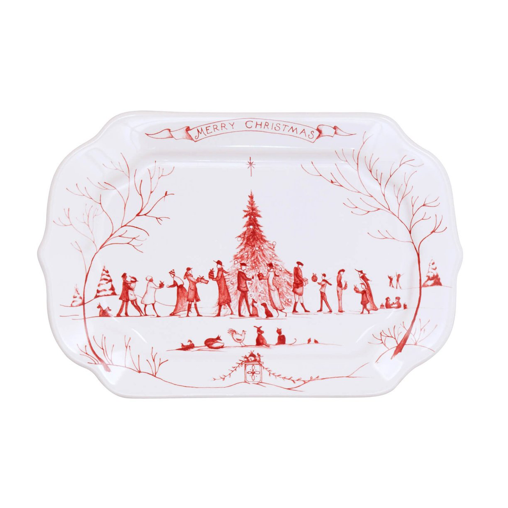"Country Estate Winter Frolic Ruby Gift Tray ""Merry Christmas"""