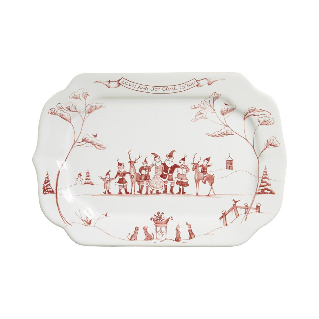 "Country Estate Winter Frolic Ruby Gift Tray ""Love & Joy"""