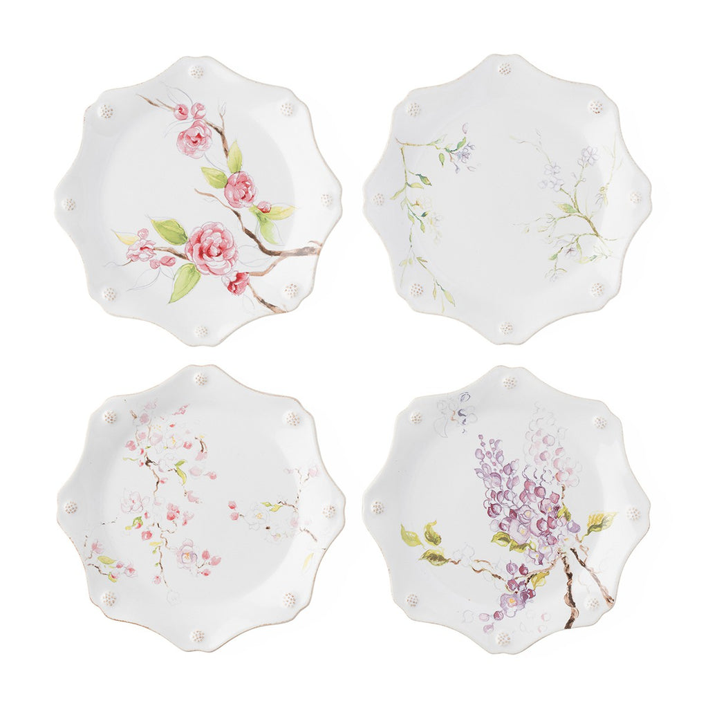 Berry & Thread Floral Sketch Assorted Dessert/Salad Plates, Set/4