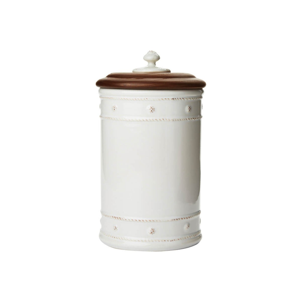 "Berry & Thread Whitewash 10"" Canister with Wooden Lid"
