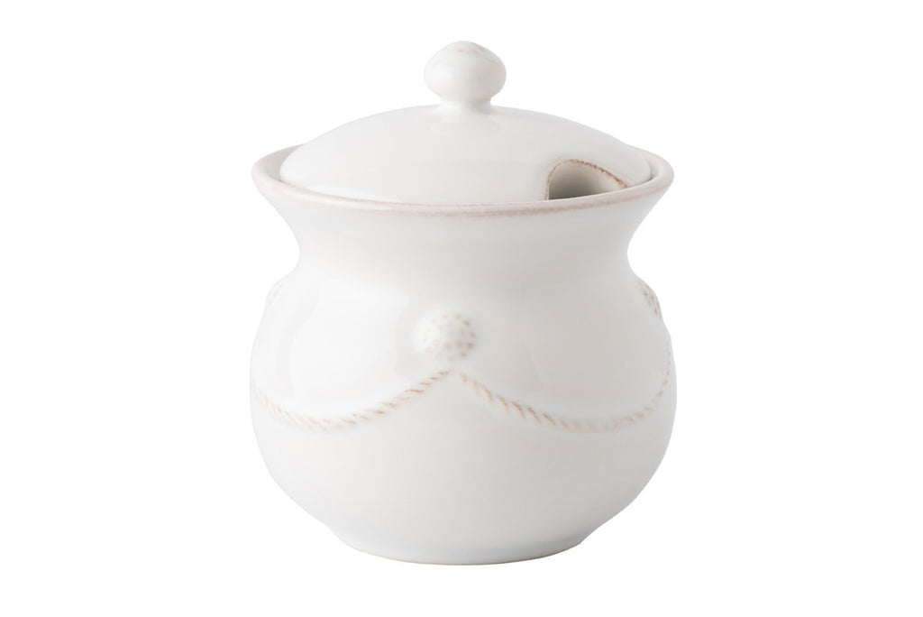 Berry & Thread Whitewash Lidded Sugar Pot