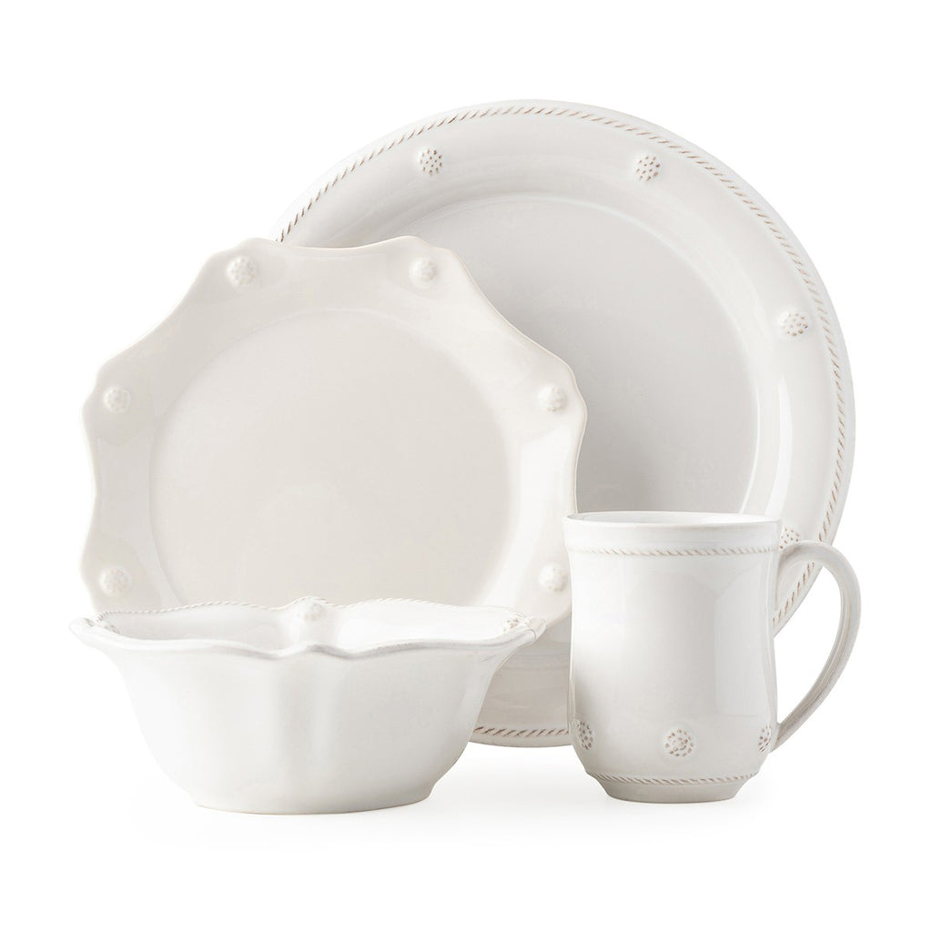 Berry & Thread Whitewash 4pc Setting, w/ Mug & Cereal