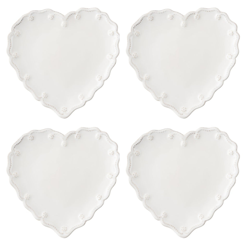 Berry & Thread Whitewash Heart Cocktail Plate Set/4
