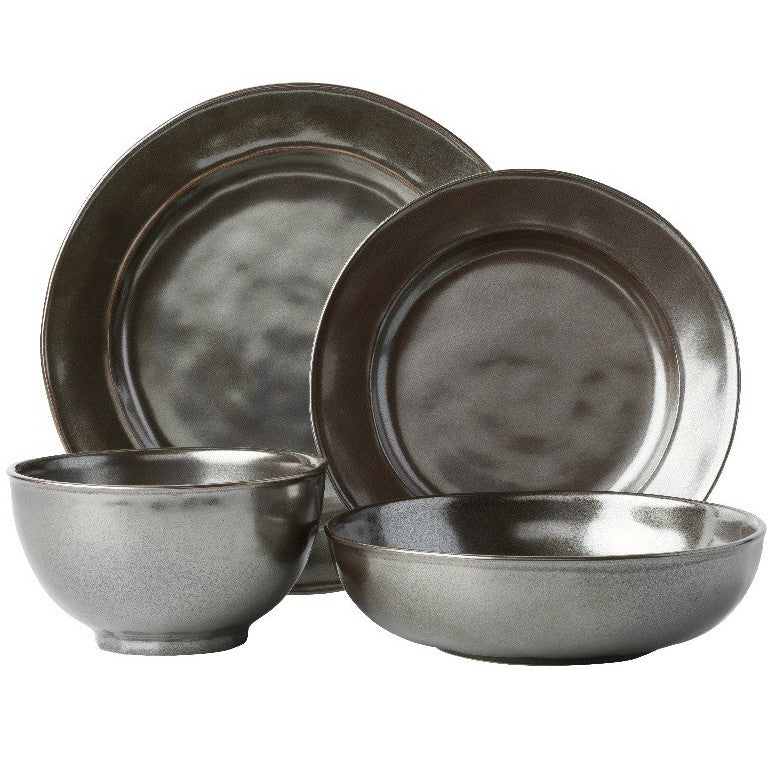 Pewter Stoneware 4pc Setting