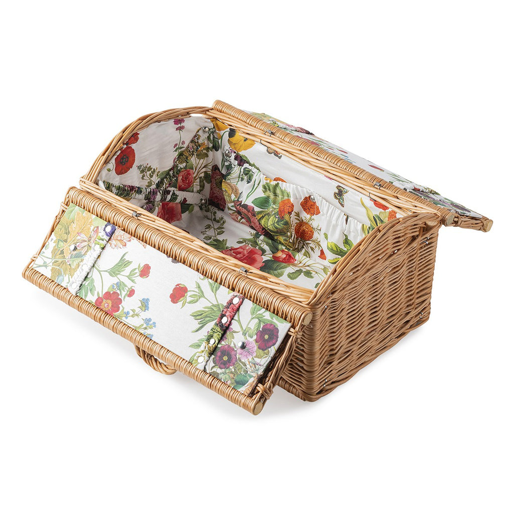 Picnic Basket with Field of Flowers Lining