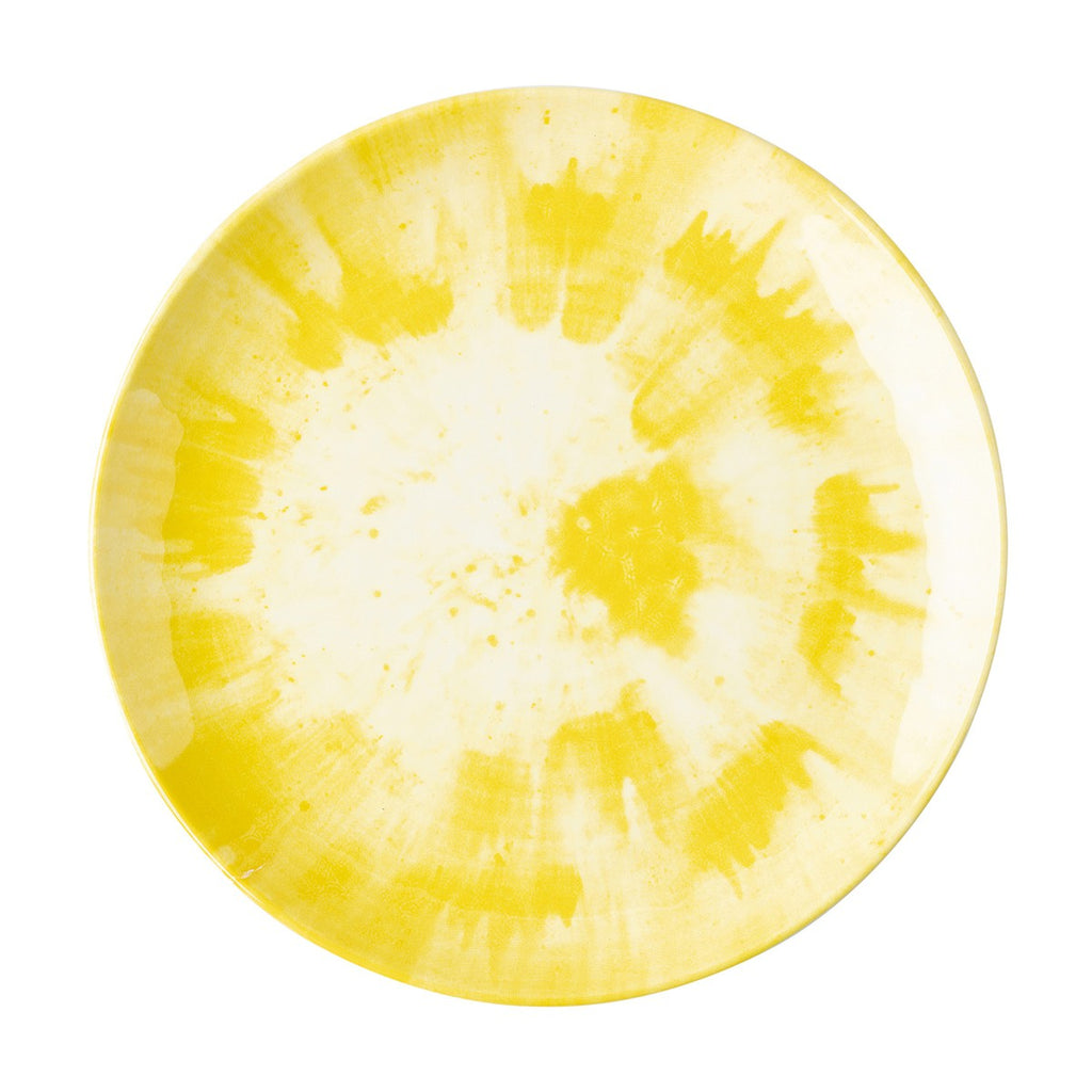 Splatter and Spin Melamine Yellow Dinner Plate
