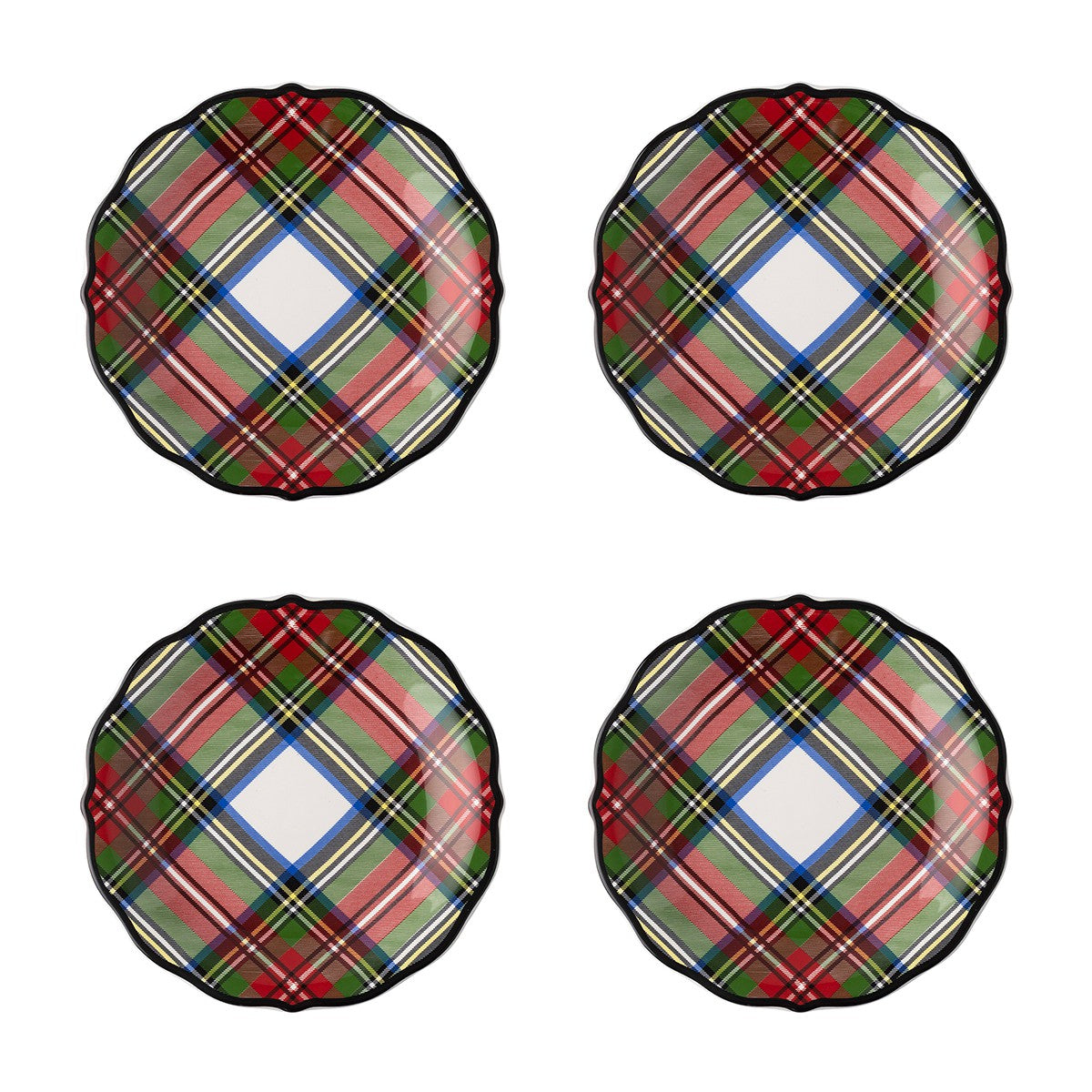 Stewart Tartan Cocktail Plates Set 4 Mason Jones
