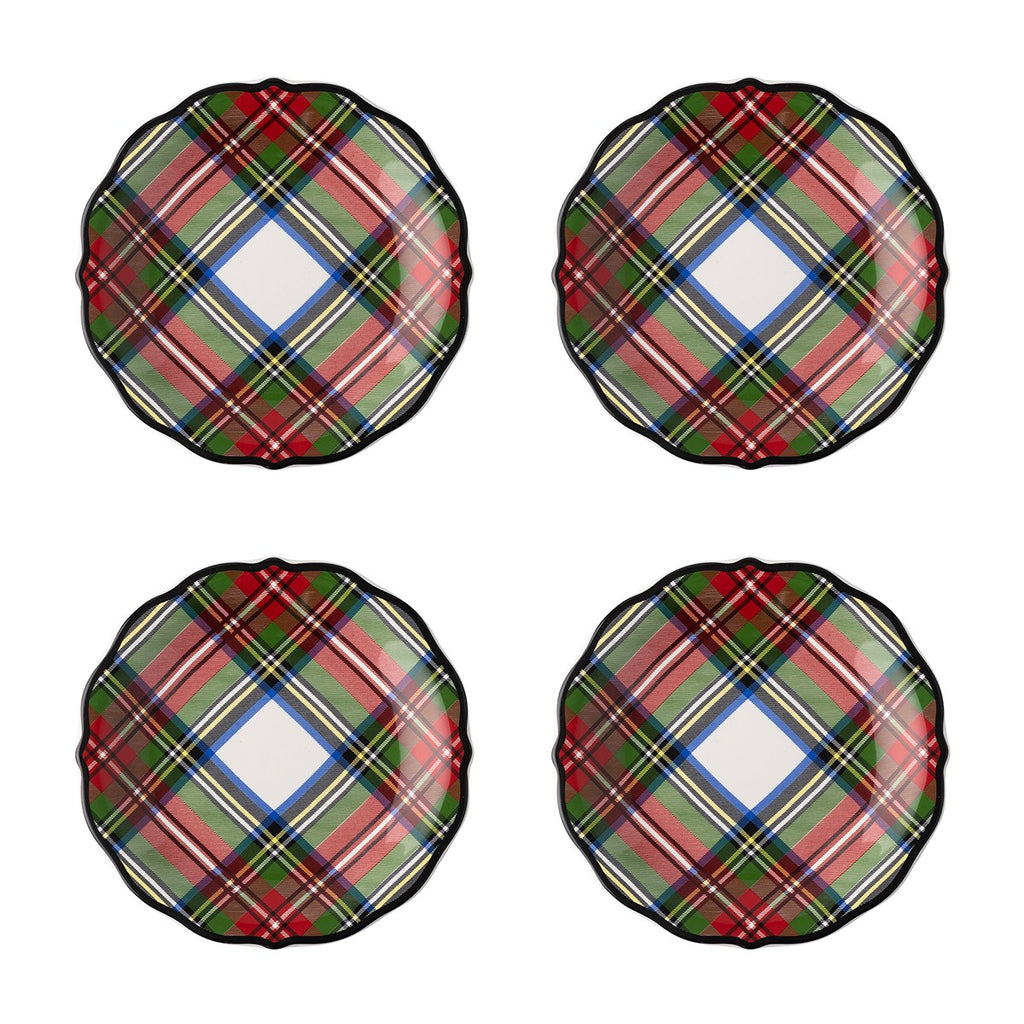 Stewart Tartan Cocktail Plates, Set/4