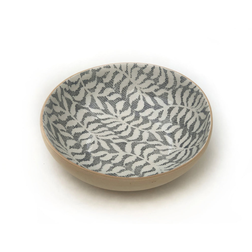 Charcoal Fern Serving Bowl, Medium