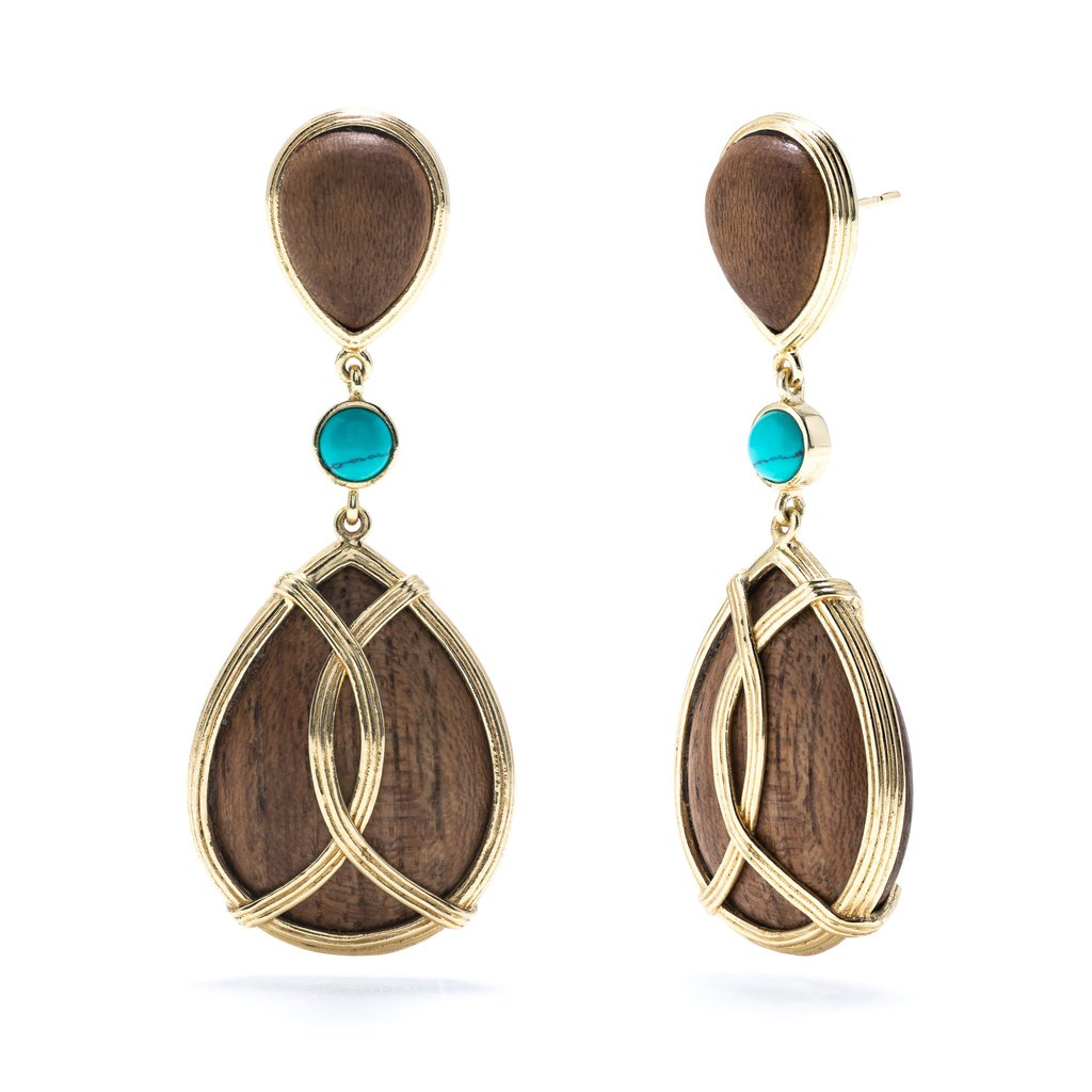 Teak & Turquoise Monique Tear Drop Earrings