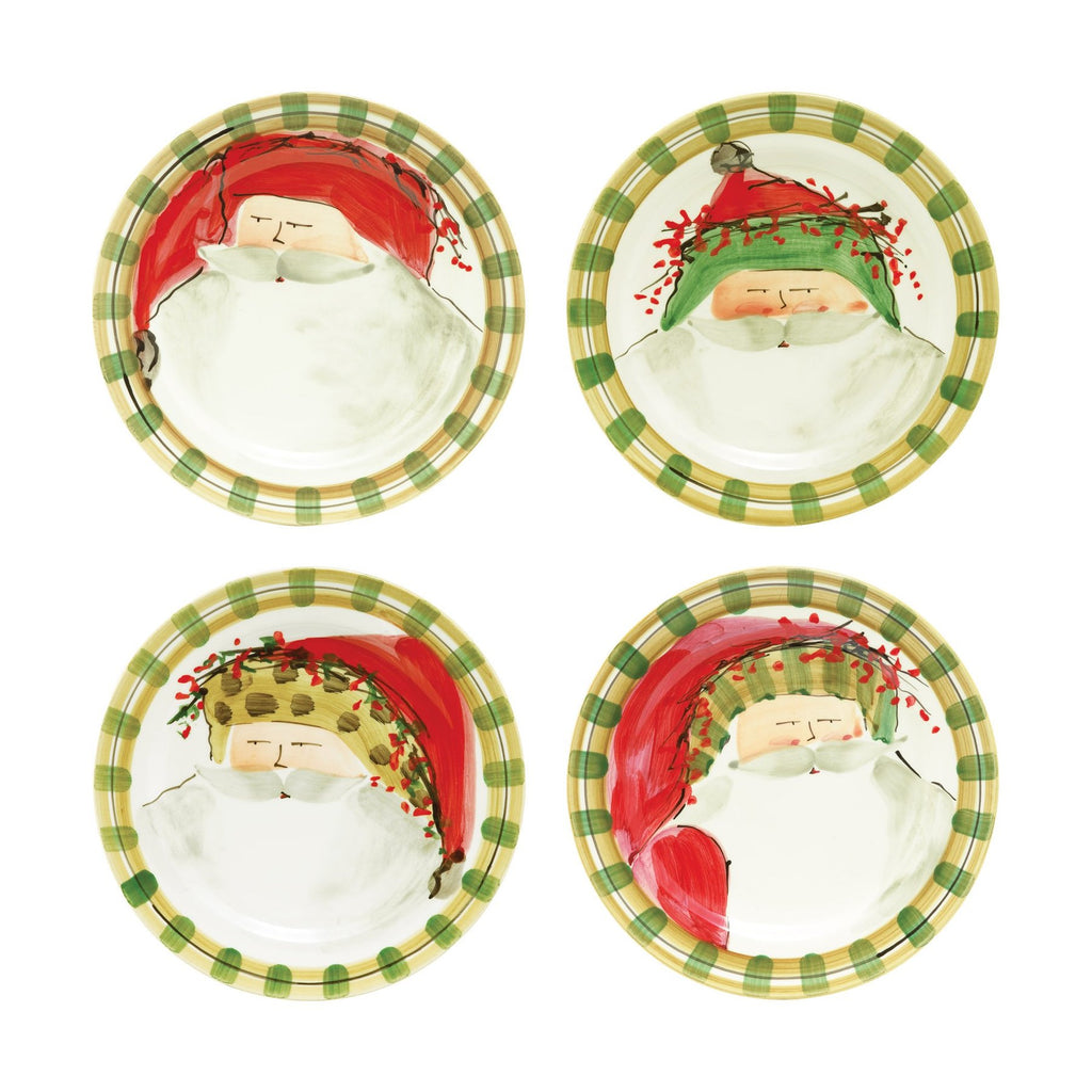 Old St. Nick Assorted Round Salad Plates, Set/4