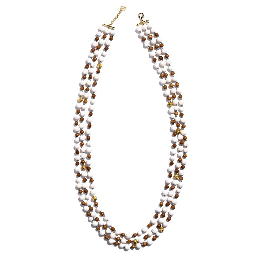 Coral & Teak Ocean Goddess Beads Necklace