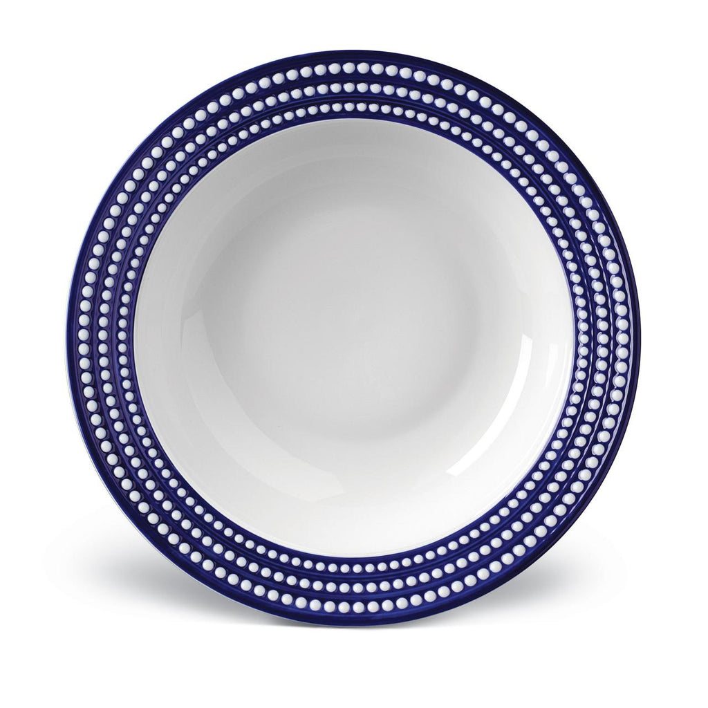 Perlée Blue Rimmed Serving Bowl