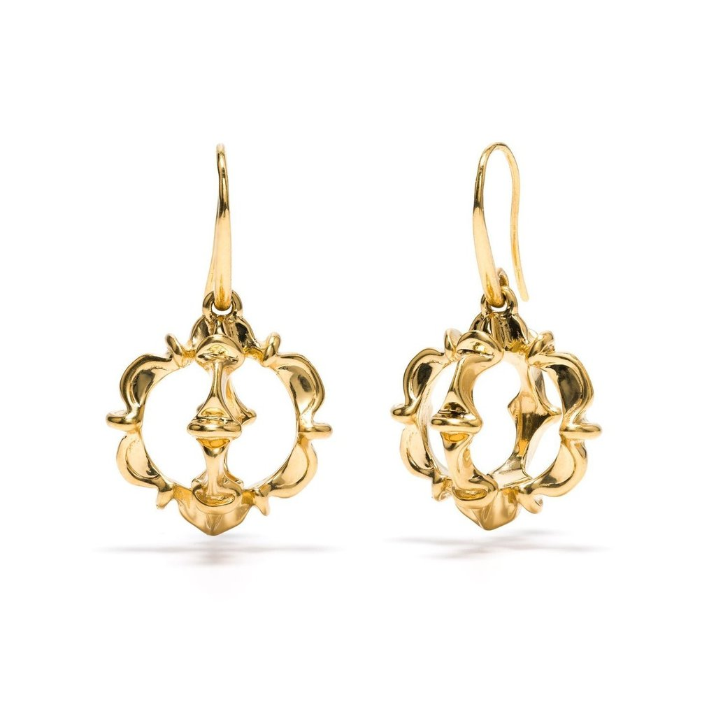 Gold Ruffle Urchin Earrings
