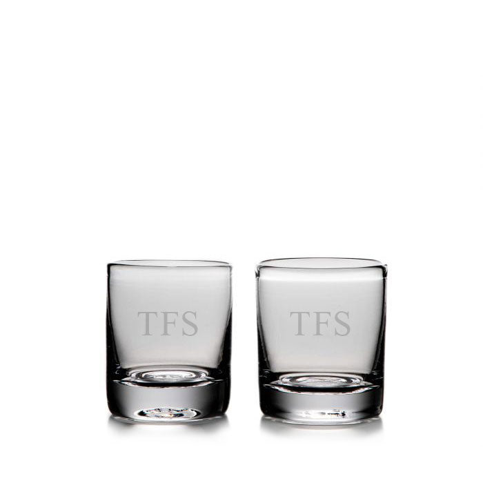 Ascutney Double Old-Fashioned Glasses, Set/ 2 with Initials