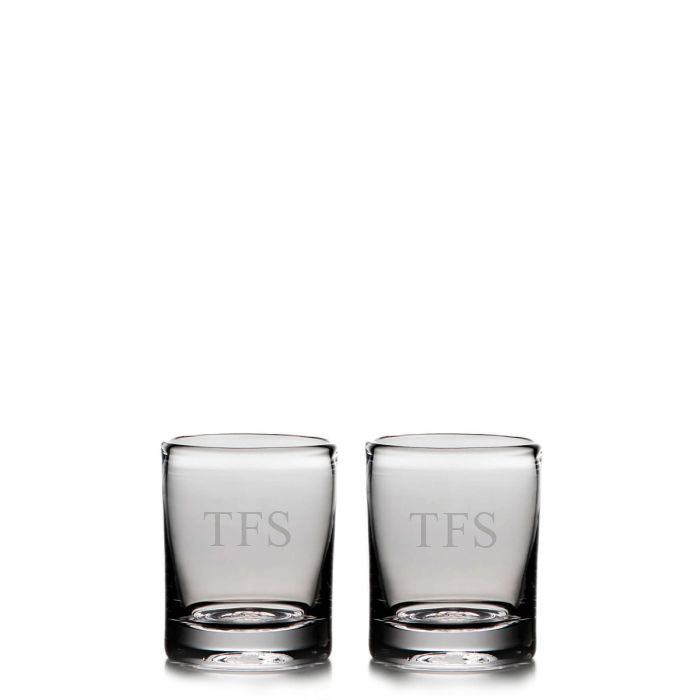 Ascutney Whiskey Glasses, Set/2 with Initials