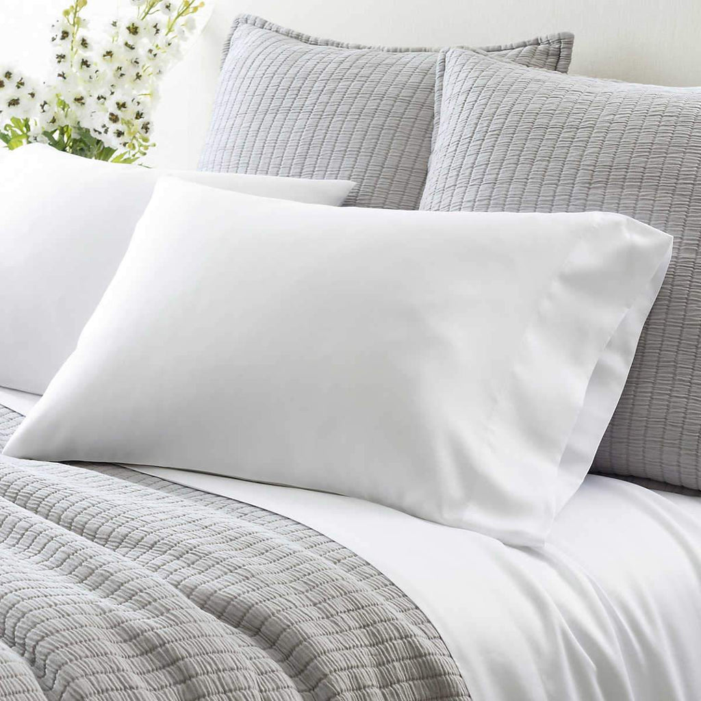 Silken Solid White Pillowcases, Set/2