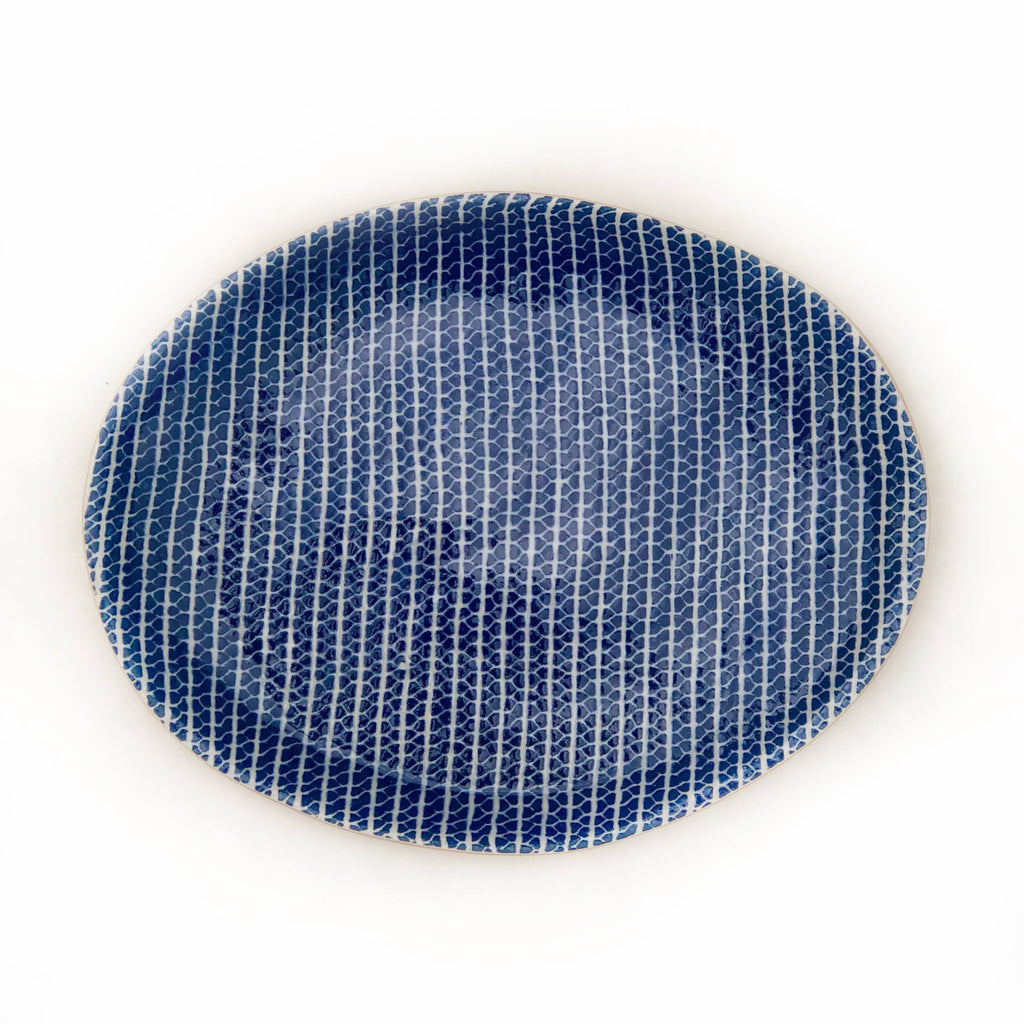 Cobalt Strata Oval Tray, Small