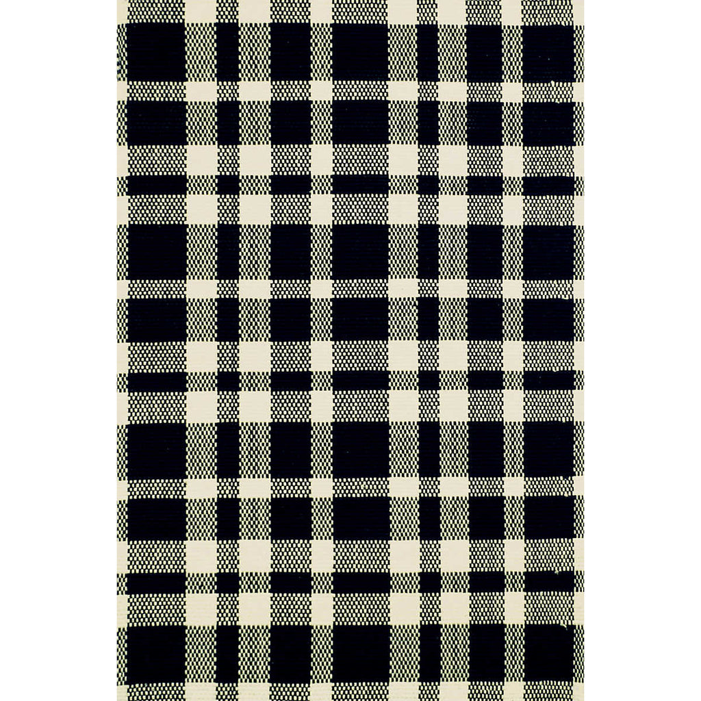 Tattersall Black/Ecru Woven Cotton Rug