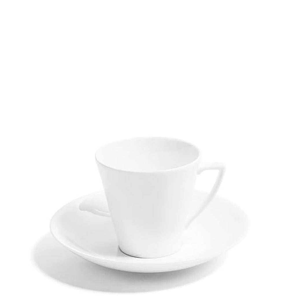 White Deco Teacup & Saucer