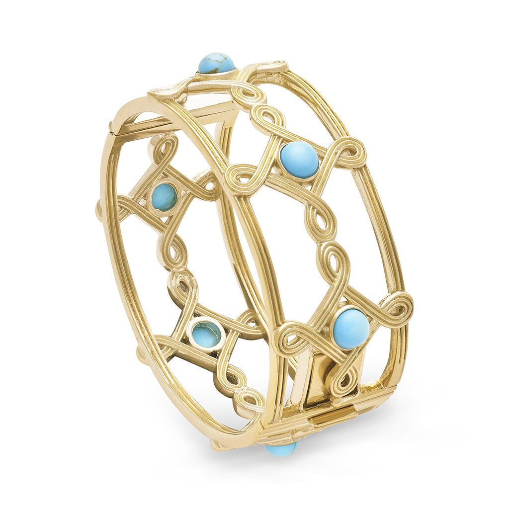 Turquoise Monique Compass Hinged Bangle