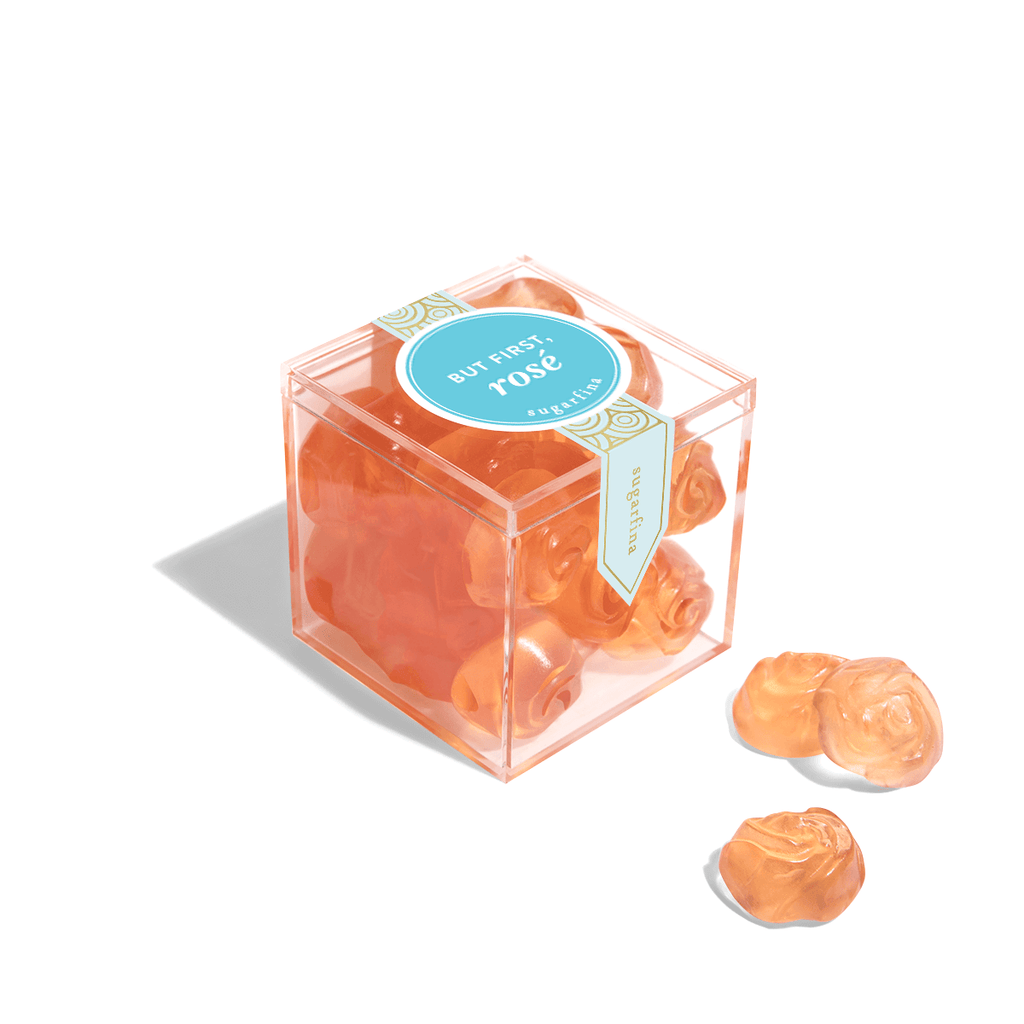 """But First, Rosé"" Roses Candy Cube"