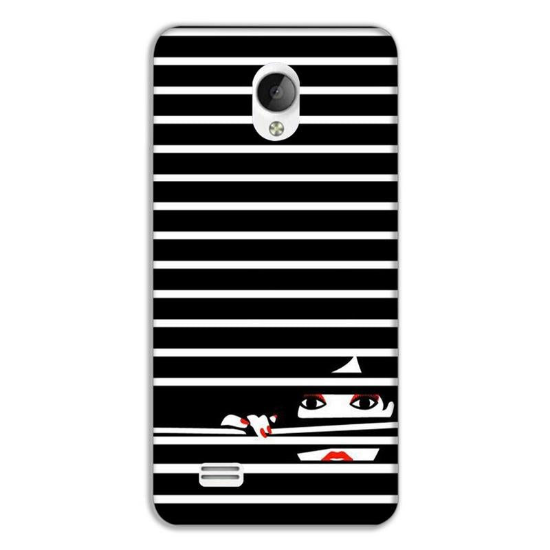Girl looking from black & white strips Vivo Y21 Mobile cover