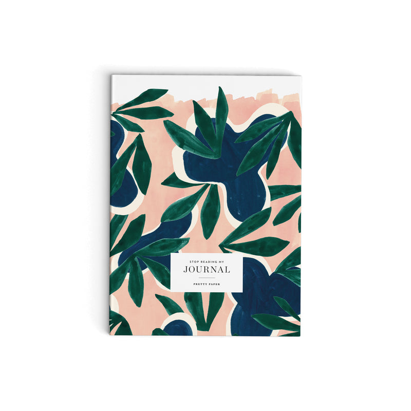 Journal - Green leaves on pink