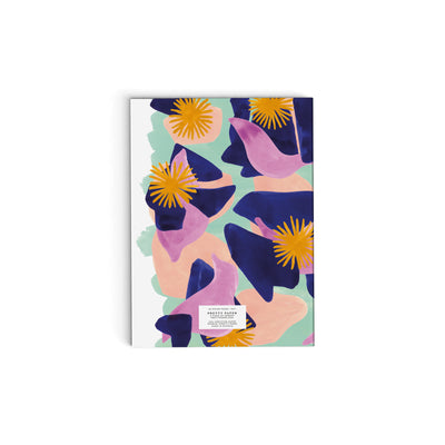 Notebook lined - Dark blue flowers on mint