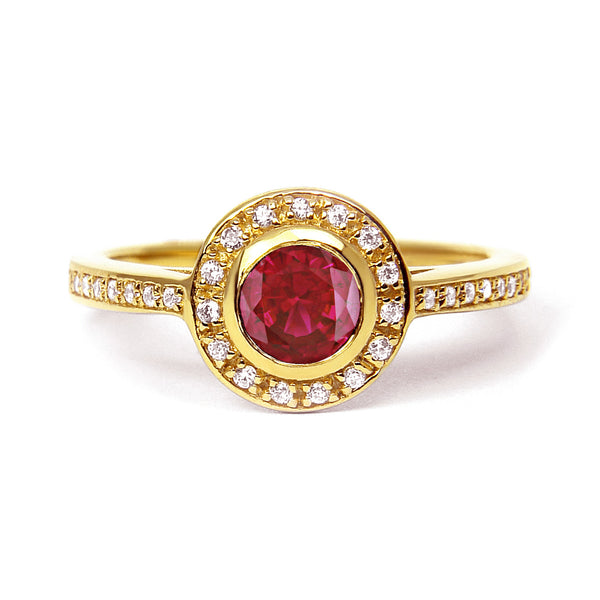 Ruby and Diamond Vintage Inspired Engagement Ring