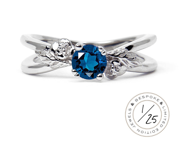 Arabel Lebrusan Ethical Foliage Blue Sapphire Engagement Ring