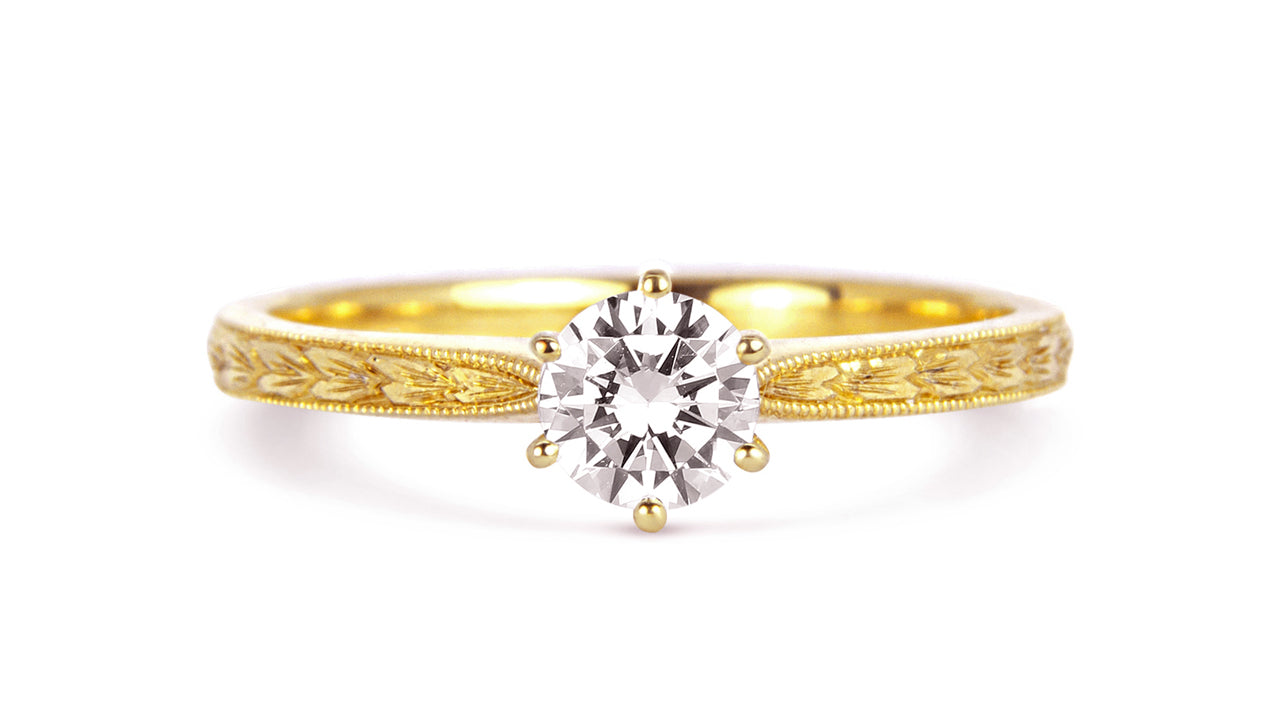 Arabel Lebrusan, Engraved in my Heart Ethical Diamond Engagement Ring, 18ct Ecological Gold