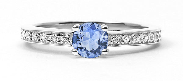 Solar Eclipse Ethical Light Blue Sapphire Engagement Ring
