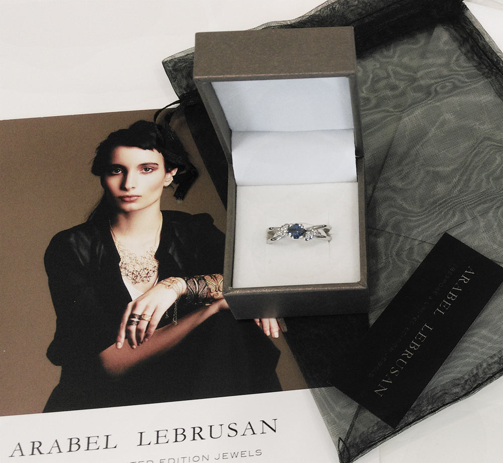 Arabel Lebrusan 'Foliage Ethical Sapphire Platinum Gemstone Engagement Ring' Testimonial