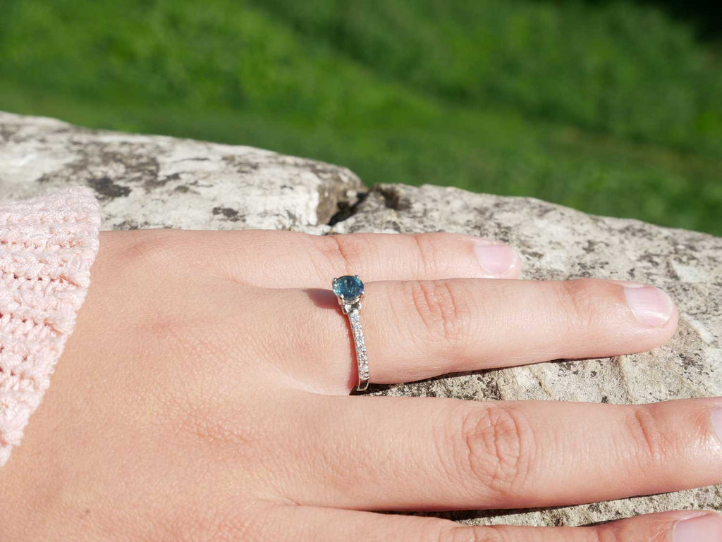 Arabel Lebrusan Bespoke ethical engagement ring Malawi Sapphire
