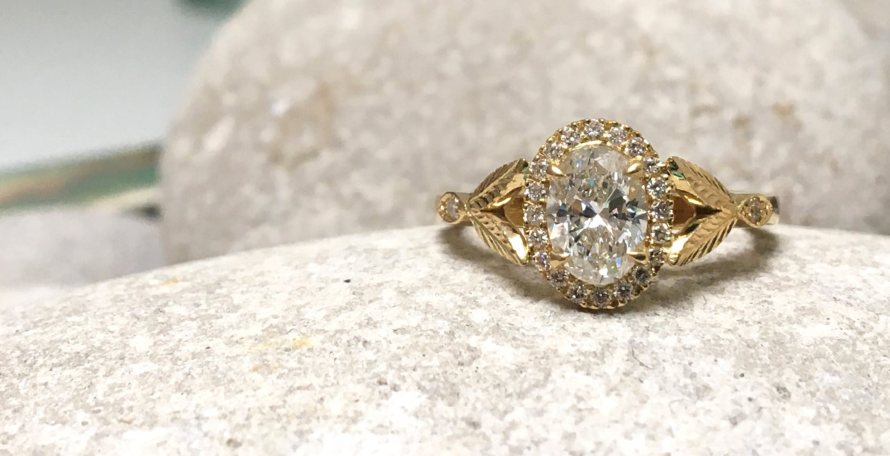 Bespoke engagement ring Fairtrade Yellow Gold and Canadian diamond