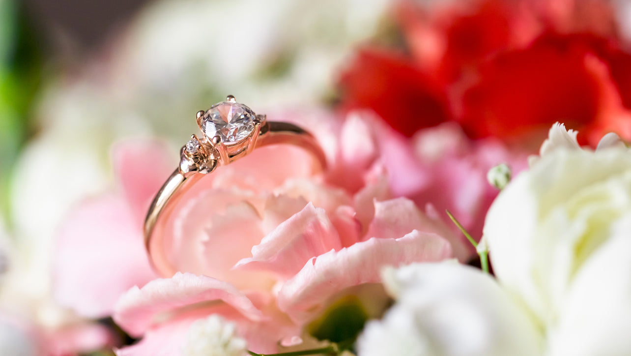 Cherry Blossom Flower Engagement Ring