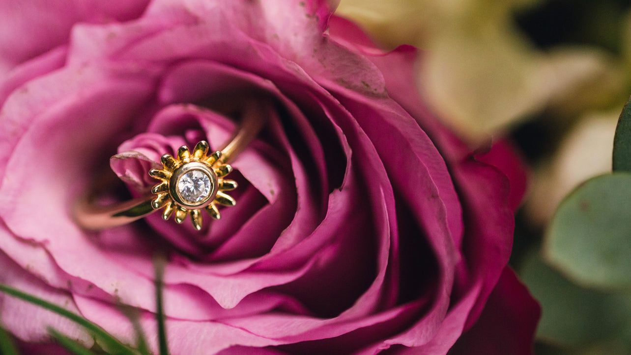 Bellis Flower Engagement Ring