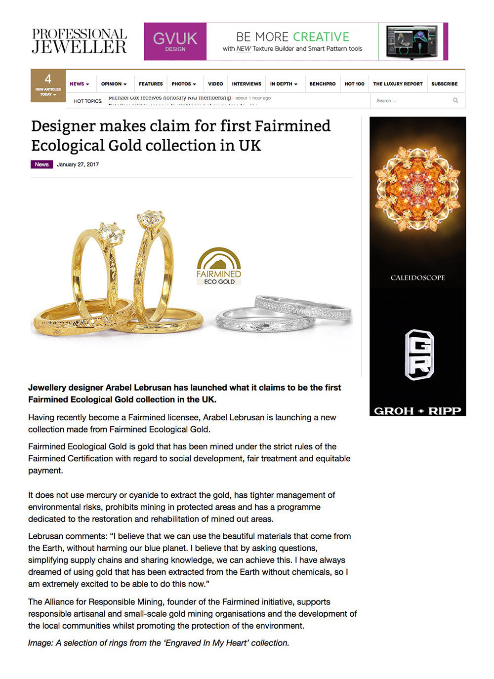Arabel Lebrusan at Professional Jeweller with Ecological Gold Collection