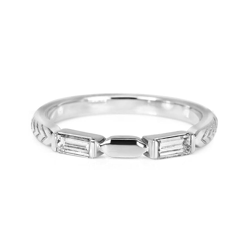 Bespoke Amy wedding ring - 100% recycled platinum and baguette-cut, conflict-free diamonds