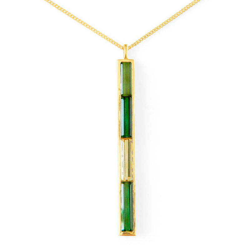 Bespoke pendant - fair-traded yellow and green beryl baguettes and 18ct recycled yellow gold