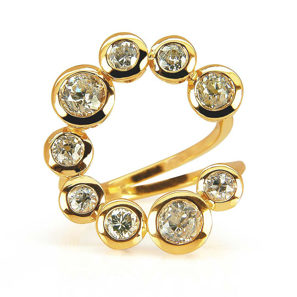Planet-inspired bespoke cocktail ring - 18ct recycled yellow gold and vintage reclaimed diamonds