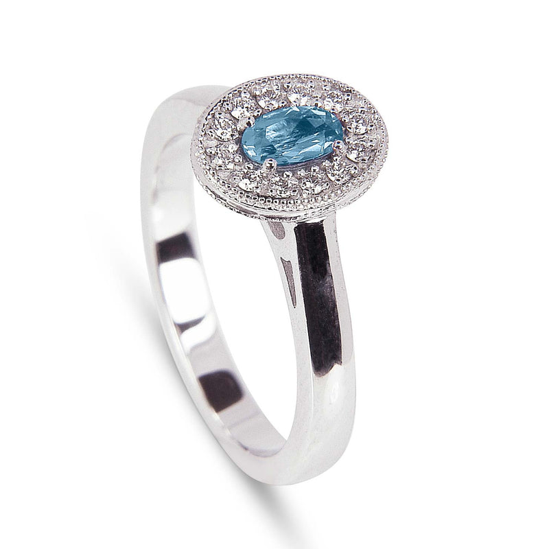 Bespoke Jenna engagement ring - 100% recycled platinum, oval aquamarine and conflict-free diamond halo