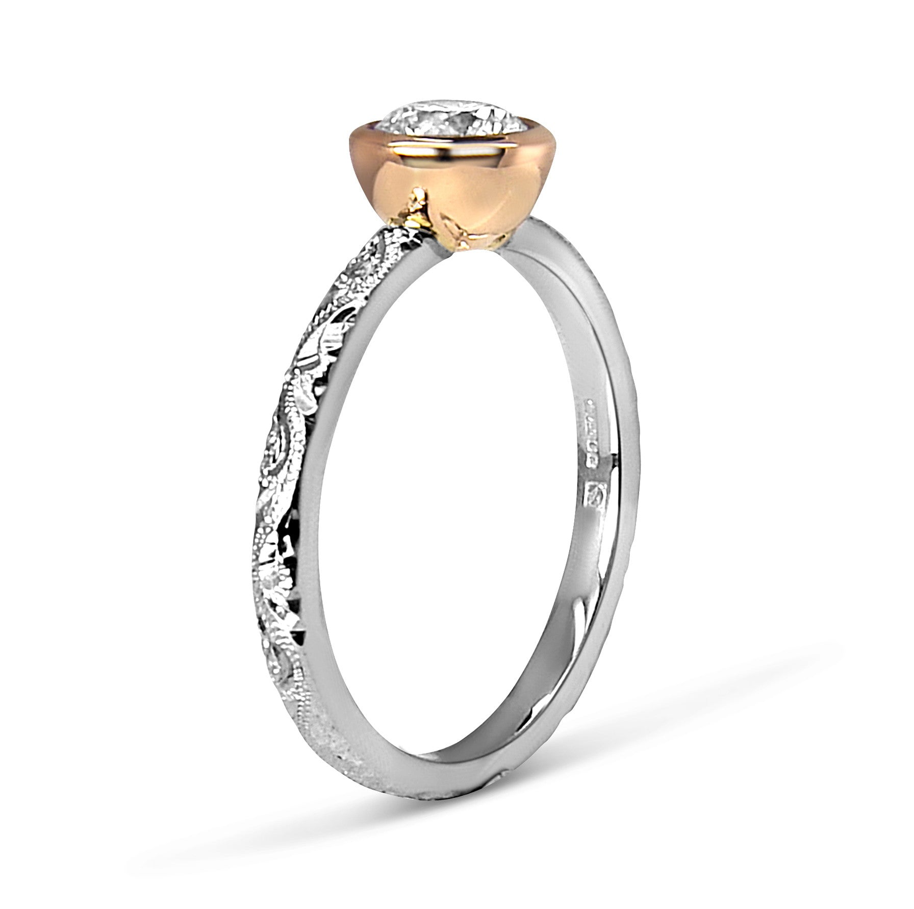 Bespoke Max and Gemma engagement ring - white and rose Fairtrade Gold, hand-engraved Scrolls and a Canadian diamond