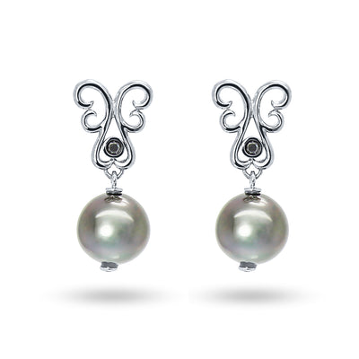 Bespoke drop earrings with black Tahitian pearls, ethical black diamonds and white gold
